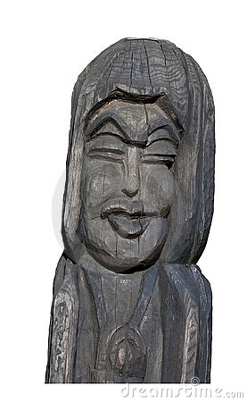 Wooden sculpture isolated