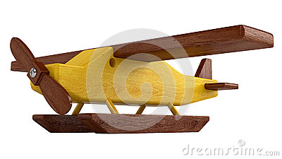 Wooden seaplane on pontoons