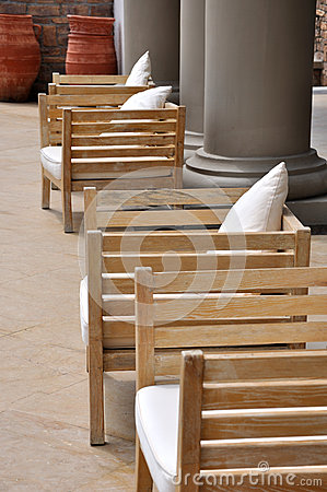 Wooden seat in grand yard