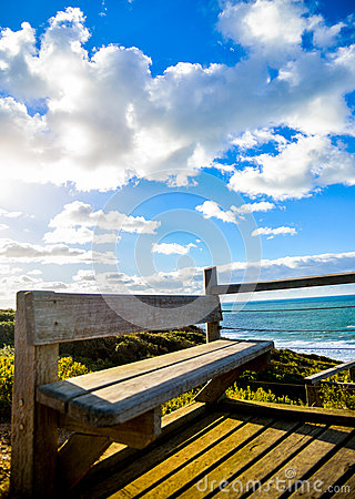 Wooden seat with Sea and blue sky1