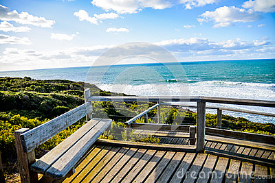Wooden seat with Sea and blue sky2