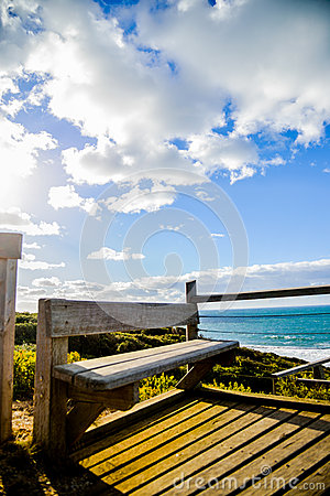 Wooden seat with Sea and blue sky4