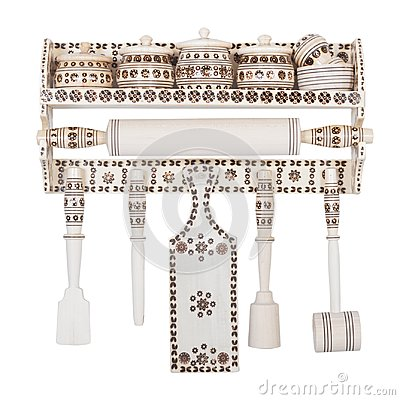 Free Wooden Set Of Decorative Kitchen Accessories Stock Photos - 100651713