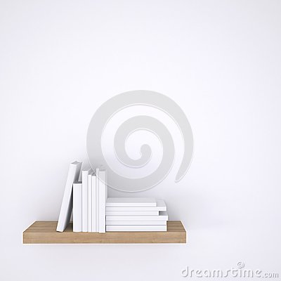 Free Wooden Shelf With Books On White Wall Background Royalty Free Stock Images - 35098739