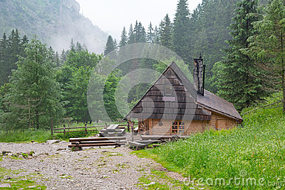 Wooden shelter in the forest of Tatra mountains