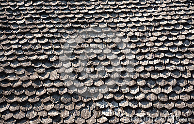 Wooden shingle on the roof
