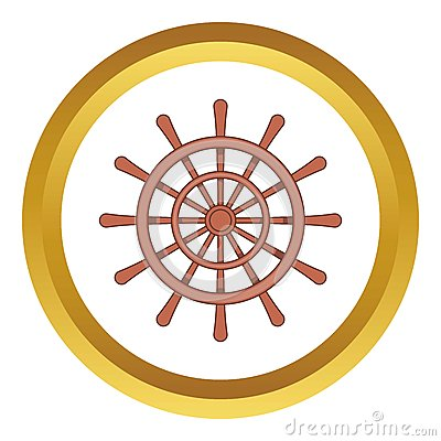 Wooden ship wheel vector icon Vector Illustration