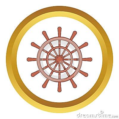 Wooden ship wheel vector icon Vector Illustration