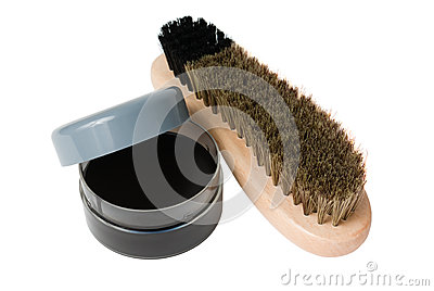 Wooden shoe brush and cream