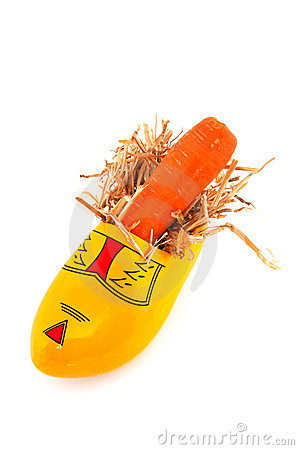 Wooden shoe with carrot