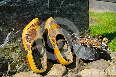 Wooden shoes on Dutch grave