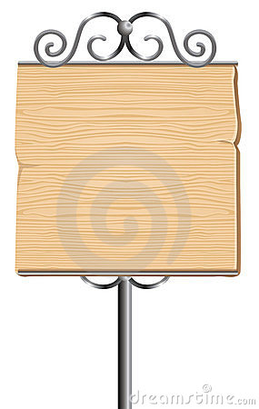 Wooden sign for advertising with metal elements
