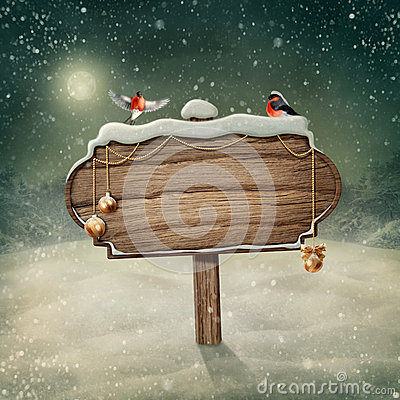 Free Wooden Sign And Birds Stock Image - 35171651