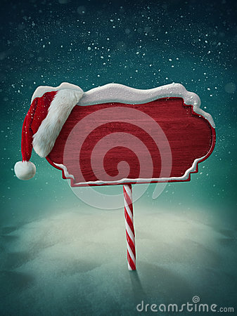 Free Wooden Sign And Santa Hat Royalty Free Stock Photography - 34629187