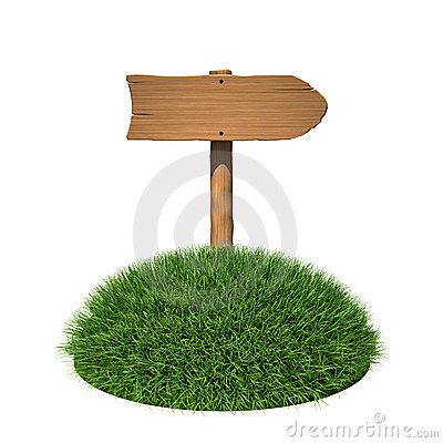 Wooden sign as arrow with grass