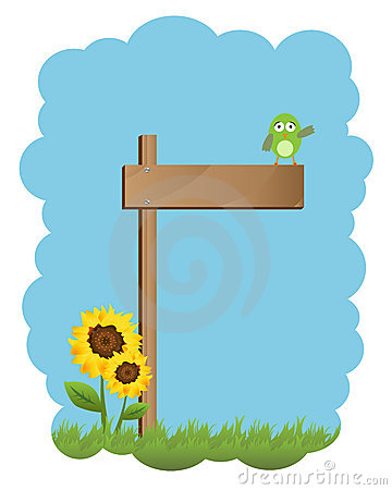 Wooden sign and bird