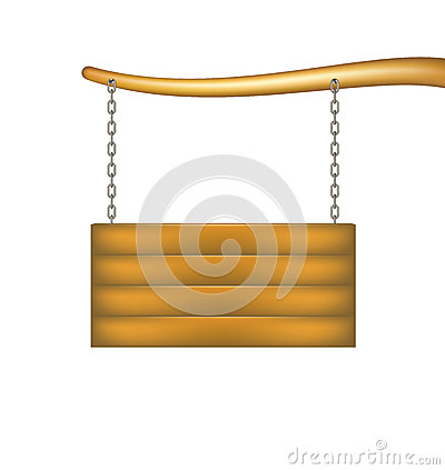 Wooden sign board with chain hanging from the boug