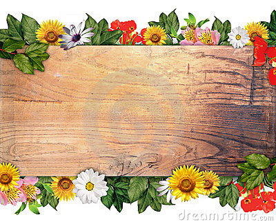 Wooden Sign & Flowers Stock Image - Image: 18788571