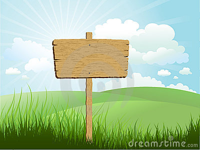 Wooden sign in grass