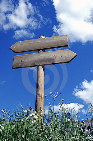 Wooden sign for walkers