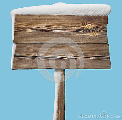Free Wooden Sign With Snow On Blue Royalty Free Stock Photos - 82592898
