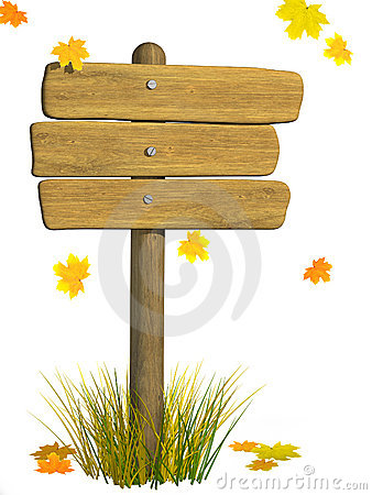 Wooden signboard. Autumn