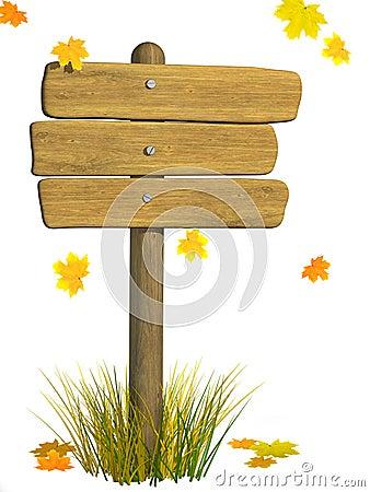Wooden signboard. Autumn