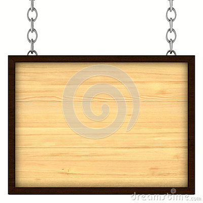 Wooden signboard on the chains