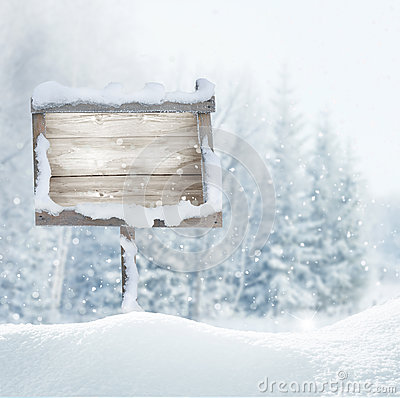 Free Wooden Signboard In Snow .Christmas Banner. Royalty Free Stock Photos - 82233248