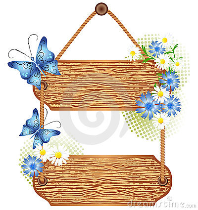 Wooden signboard with meadow flowers