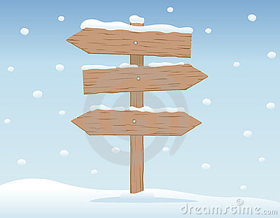 Wooden signboard in snow 2