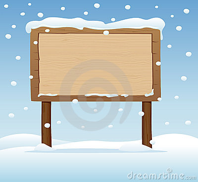 Wooden signboard  in snow 3