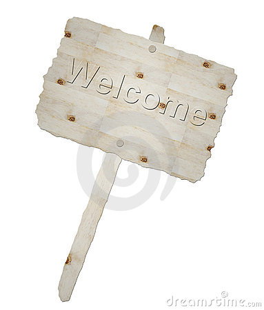 Wooden signboard and word welcome