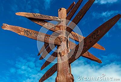 A wooden signpost.