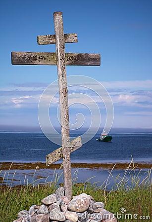 Wooden signpost on coast