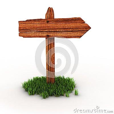 Wooden signpost on grass