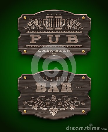 Wooden signs for Pub and Bar