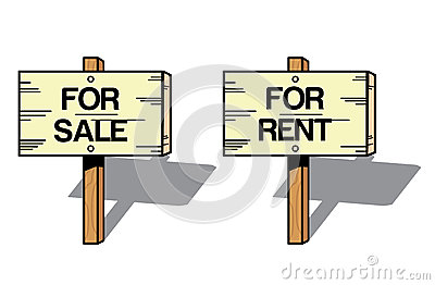 Wooden signs with rental statement