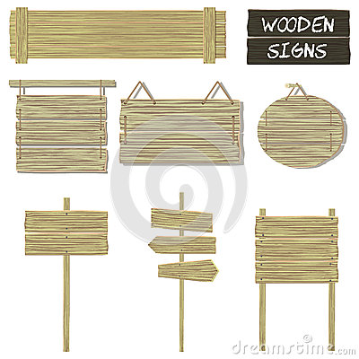 Wooden signs. Vector set of wood signboards Vector Illustration