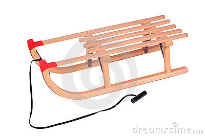 Wooden sled, isolated against background