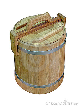 Wooden small barrel isolated,