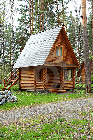 Wooden small house in a wood