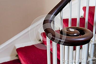 Wooden spiral handrail