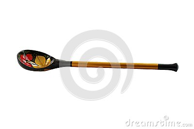 Wooden spoon covered color varnished pattern