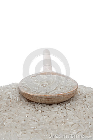 Wooden spoon with rice