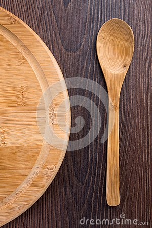 Wooden spoon and serving plate