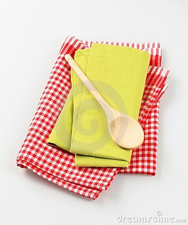Wooden spoon and tea towels