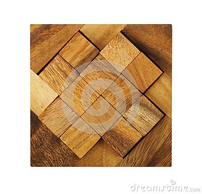Wooden square figures assemble in puzzle isolated
