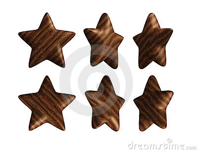 Wooden star solid wood isolated