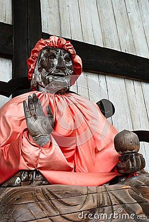 Wooden statue of Buddha Binzuru.